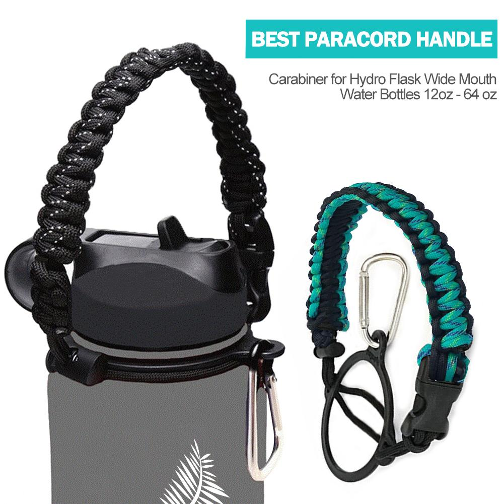 Paracord Strap Water Bottle Carabiner. Handle For Hydro Flask And Other Wide Mouth Bottles  Hiking  Flask Accessories