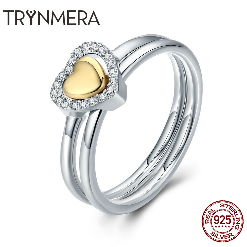 2 Pcs Women Ring 925 Sterling Silver Love Heart Color Gold Finger Rings For Women Wedding Sterling Silver Jewelry Anel TR065