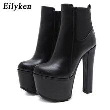 Eilyken 2020 Winter New High Heels Ankle Women Boots Black PU Leather Round Toe
