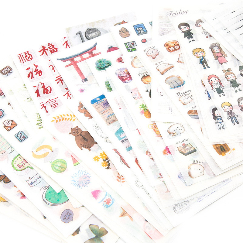 6 Sheets/lot Flat Cute Scrapbooking Journal Diy Paper Craft Sticker School Supplies Stationery