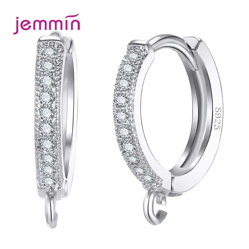 Fashion Hoop Earring Findings 100% 925 Sterling Silver with Clear Cubic Zircon Jewelry Component Accessory Huggie Hook Free Ship