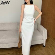 Elegante slash neck sem mangas vestido sólido para as mulheres magro cintura lateral alta divisão feminino bodycon vestido 2021 verão vestidos