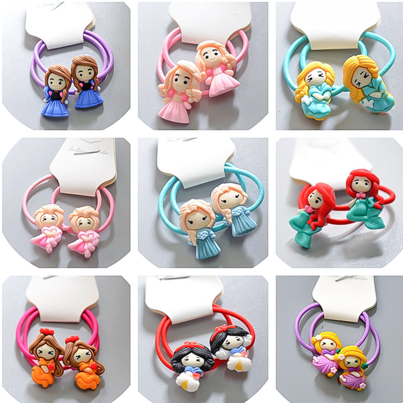 Cute Cartoon Hair Pins Childrens Disney Elsa Princess Girl Hair Rubber Band Frozen Anna Small Holster Hair Accessories For Girls