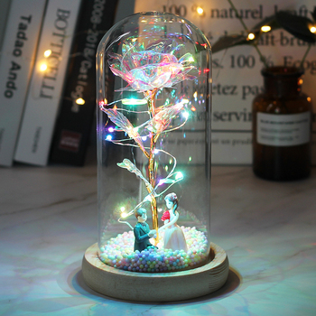 2020 LED Enchanted Galaxy Rose Eternal 24K Gold Foil Flower With Fairy String Lights In Dome For Christmas Valentine's Day Gift