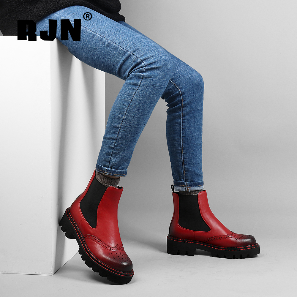 New RJN Fashion Women Chelsea Boots Bullock Carved Cow Leather Comfortable Round Toe Med Heel Shoes Slip-On Winter Ankle Boots R13