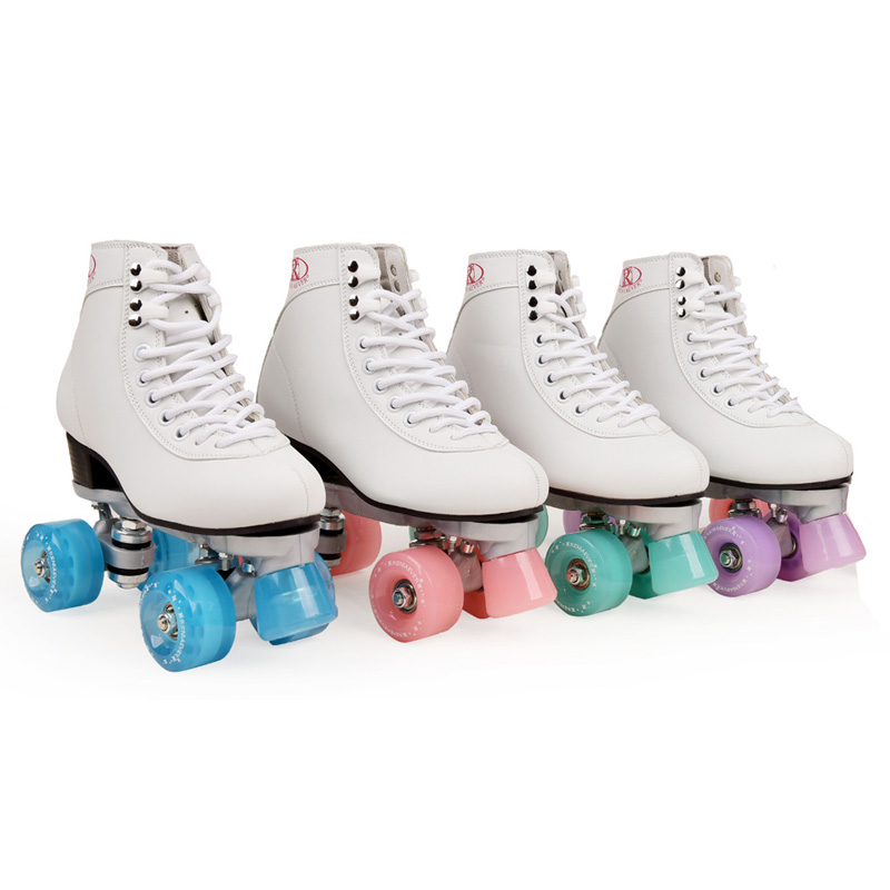 Women's Classic Retro 4 Wheels Quad Roller Skates New Style Skate Macaron Series Lake Green Wheels For Grils, Free Shipping
