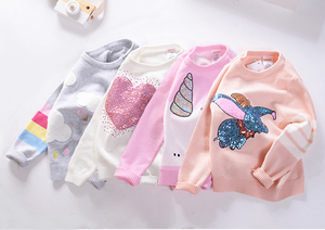Image 5 - Herbst Winter Kinder Pullover Cartoon Pailletten Pullover Pullover Für Mädchen Weiche Kinder Gestrickte Pullover Baby Mädchen Pullover 3 7 Y