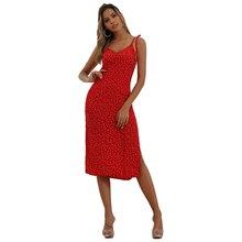 new fashionable red floral printing split dresses girl spaghetti strap v neck collar streetwear high waist 81997