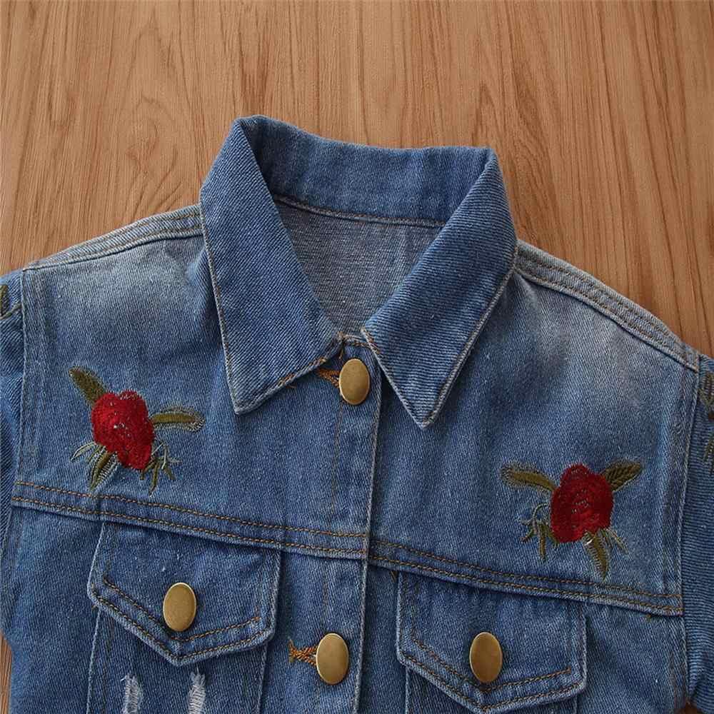 CYSINCOS סתיו חורף תינוק בנות ינס מעילי מעילי פרח רקמת אופנה ילדים להאריך ימים יותר מעיל ילד ילדה מקרית מעיל