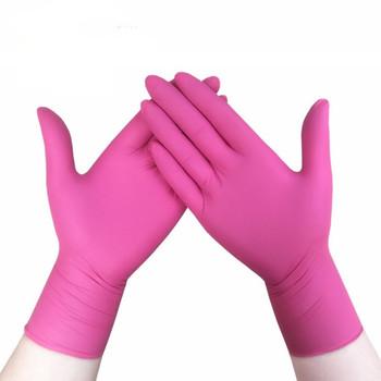 100 sztuk odporne na zużycie trwałe nitrylowe jednorazowe rękawice gumowe lateksowe jedzenie medyczne rękawice do czyszczenia gospodarstwa domowego antystatyczne różowe tanie i dobre opinie NoEnName_Null 70g MKLHH Ultra cienkie RUBBER Czyszczenie Z neoprenu