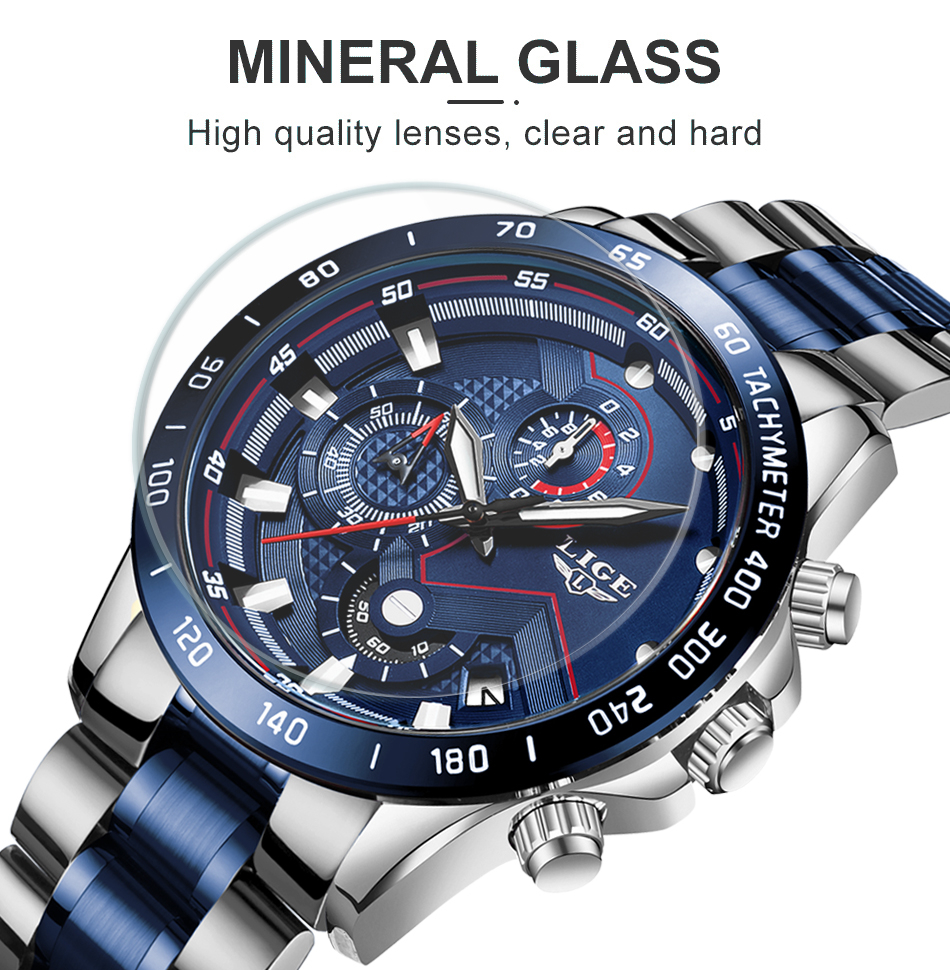 Hf64f8e690acc4a39b727e31a15b6c291i Relogio Masculino LIGE Hot Fashion Mens Watches Top Brand Luxury Wrist Watch Quartz Clock Blue Watch Men Waterproof Chronograph