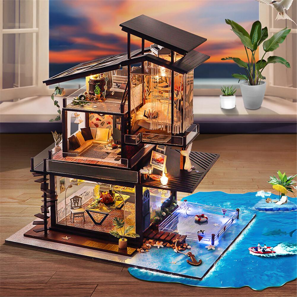 DIY Doll House Furniture Miniature Dollhouse Toys Cottage Valencia Coast Villas With Musical Movement Without Dust Cover