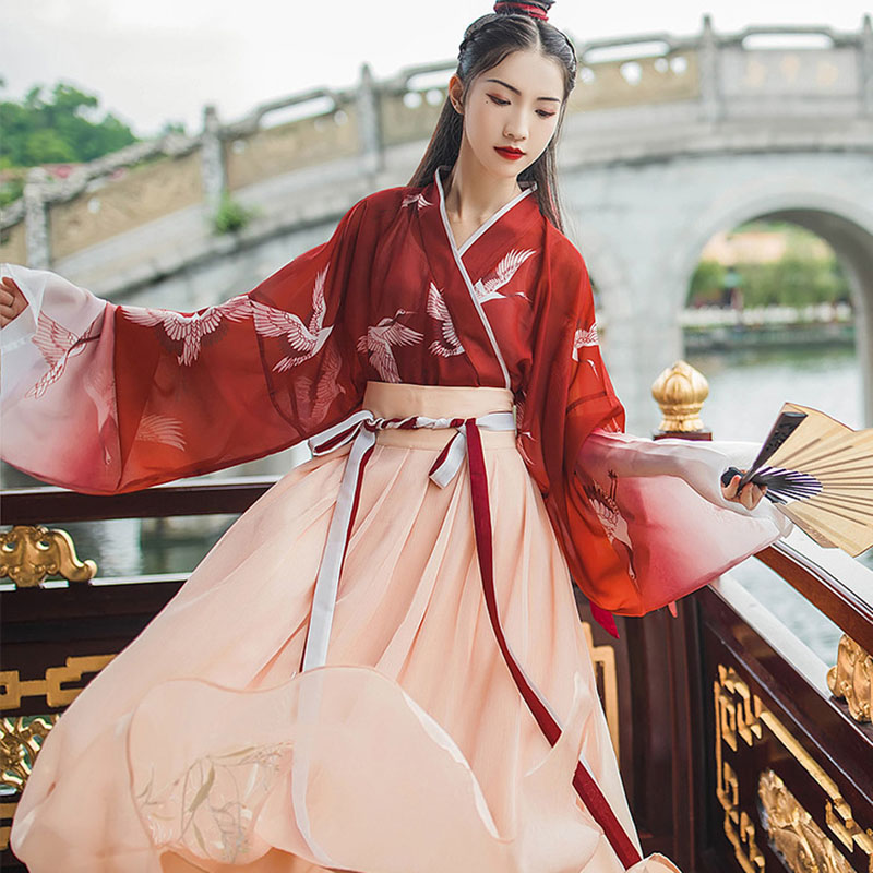 2020 Chinese Style Hanfu And Daily Adult Female Students Traditional Costume Embroidery Fresh And Elegant Photo Suit
