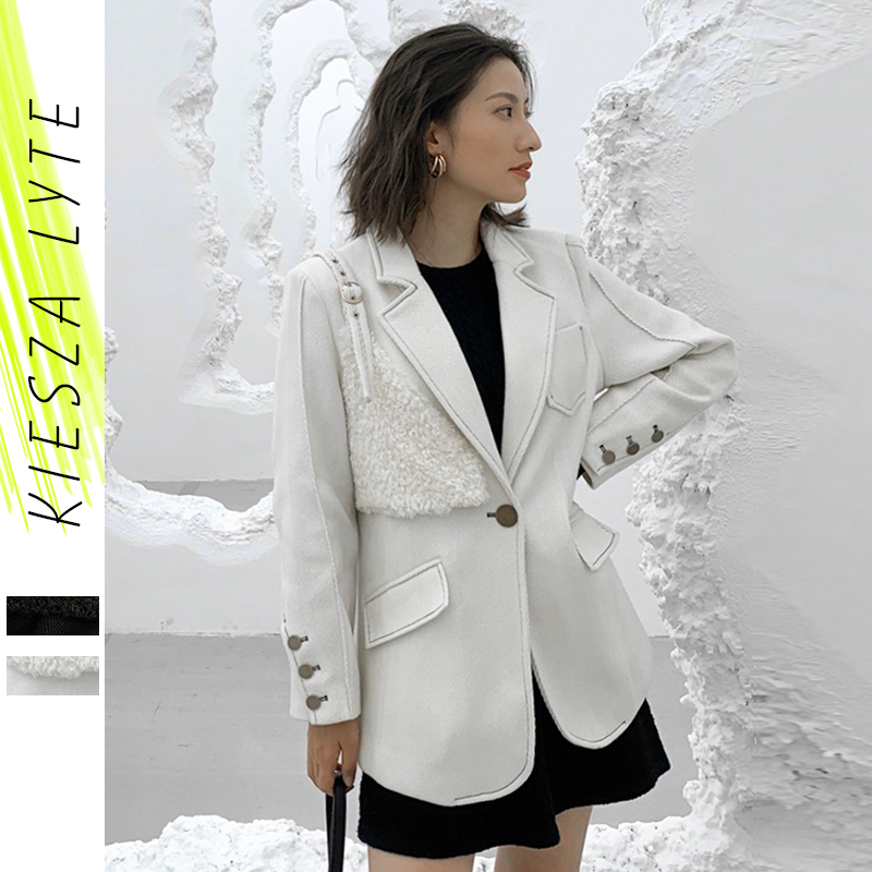 Fashion Brand Women Woolen Coat Winter Ladies Office Casual Buttons Patchwork Suit Blazer Jackets Chaquetas Mujer Outwear