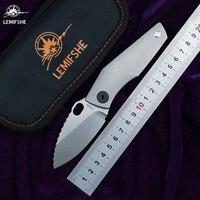 LEMIFSHE SJ75 folding knife D2 blade TC4 titanium CF G10 handle copper washing machine outdoor camping utility fruit knife EDC Knives Tools -