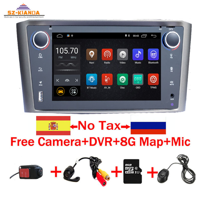 In Stock <font><b>Android</b></font> 9.0 Car Multimedia Player For <font><b>Toyota</b></font> Avensis <font><b>T25</b></font> 2003-2008 Wifi Bluetooth Radio DVD GPS Navigation Video audio image