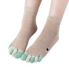 Womail новые модные забавные Женские носочки высокого качества милые и забавные носки с пятью пальцами удобные хлопчатобумажные забавные носки с принтом