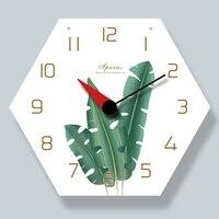 Árabe numeral relógios verde planta antler padrão decoração para casa silencioso grande relógio de parede design moderno decoração da sala de jantar