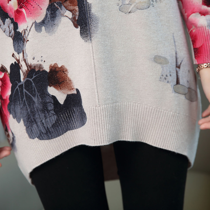 Women Autumn Cashmere Vintage Floral Sweater Elegant Middle Aged Mother Wool Sweater Pullover - 6