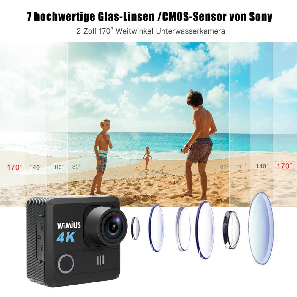 WIMIUS 4K Ultra HD экшн - WiFi 170D уличная спортивная камера Экшн- 40 м водонепроницаемая видео запись камеры для шлемов видеокамера underwater camera видеокаме...