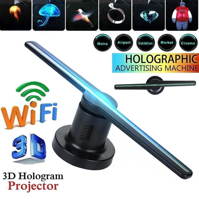 3D Hologram Projector Fan Wifi Holographic 42cm Kit with 16G TF Funny Xmas Shop Logo New 3D Hologram Projector Fan