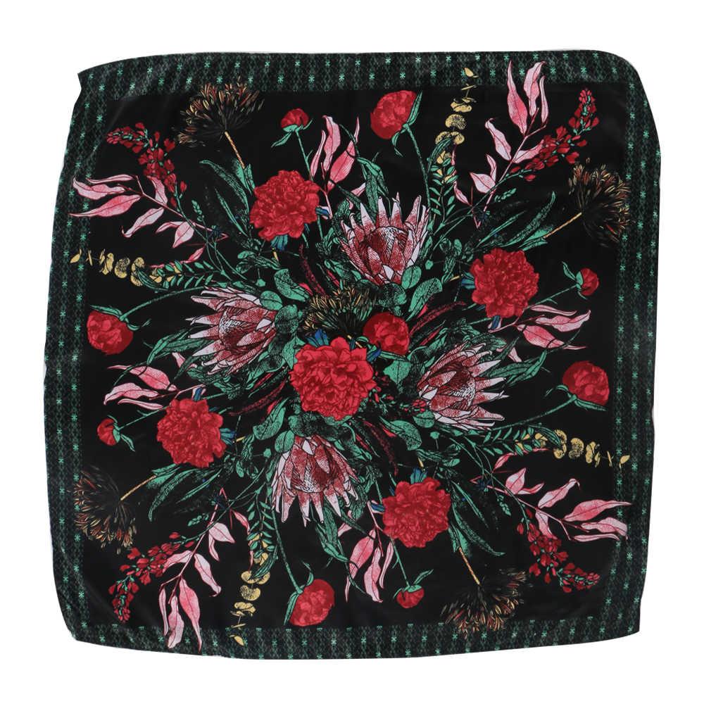 Kobiety moda plac czysty jedwab szalik dziewczyna wiosna jesień chusteczka szaliki pani kwiatowy Print szalik głowy akcesoria do włosów