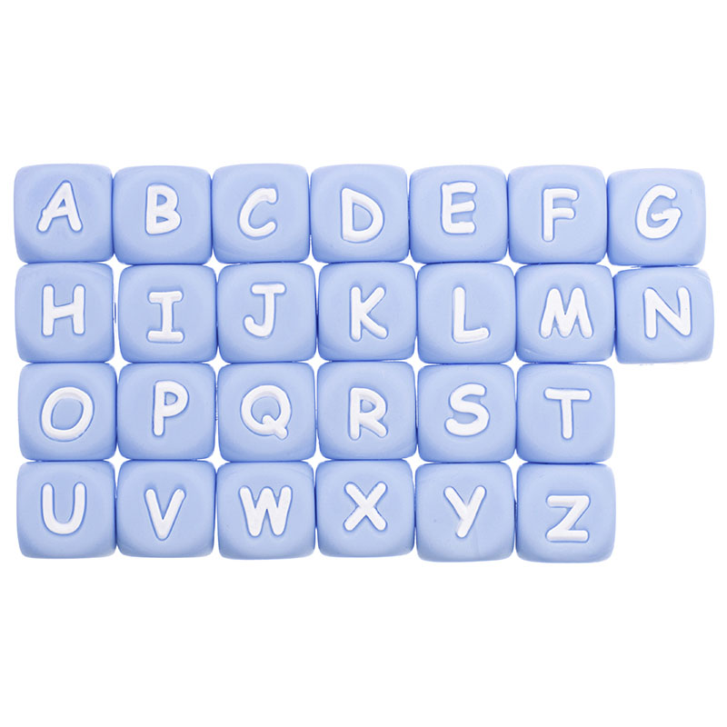 Light blue Silicone letter beads Alphabet English SIlicone DIY Baby Teether Bead 12mm BPA FREE(China)