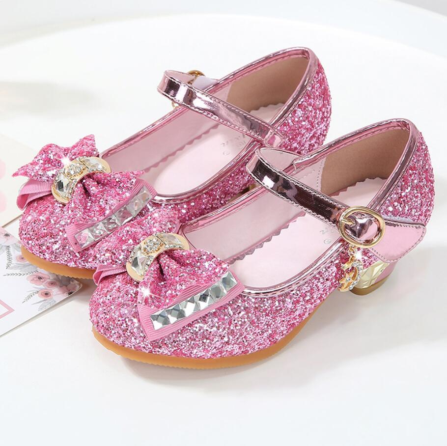 2020 Girls Leather Shoe Princess Sandals enfants Dress Shoes For Girls High Heel Shoes Kids  Leather Shoes Children Party Sandal