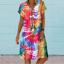 Dress Summer Loose-Style Sexy V-Neck Casual Ladies Print Tie A-Line Big-Swing Colorful