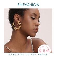 ENFASHION Olive Zweig Blatt Hoop Ohrringe Für Frauen Gold Farbe Erklärung Metall Blume Big Hoops Ohrringe Modeschmuck EC191072