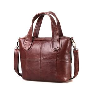 Image 2 - Bolsa de ombro de couro genuíno de patchwork, bolsa de mão feminina transversal