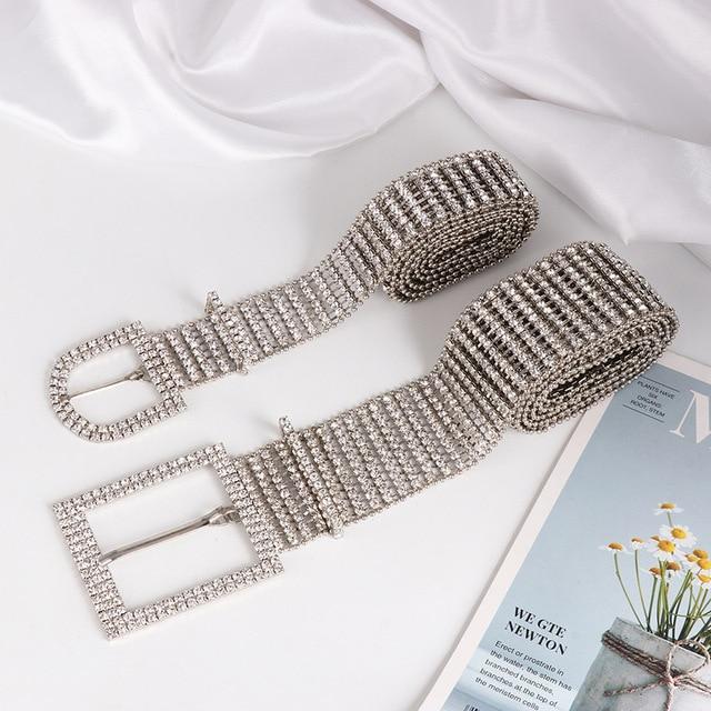 [LFMB]luxe brillant pleine strass incrusté femmes ceinture mode femme mariée large Bling cristal diamant taille chaîne ceintures 4