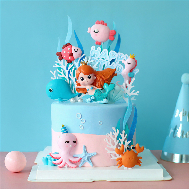 Ins 크라운 인어 장식 레이저 블루 Fishtail 케이크 토퍼 어린이 날 파티 용품 생일 디저트 귀여운 선물