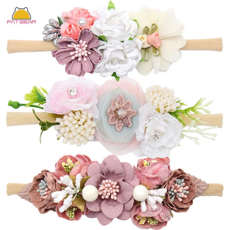 Peral  Baby Headbands Flower For Girls Handmade Bundle Nylon Elastic  Hair Band Baby Hairband Headdress Newborn Hair Accessories