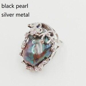 Image 3 - 100% 自然淡水パールリング、ビッグバロックパールリング。20 × 30 ミリメートル真珠