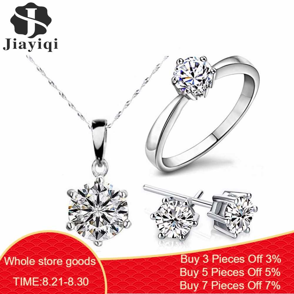 2018 Hot Sale Silver Color Fashion Jewelry Sets Cubic Zircon Statement Necklace & Earrings Rings Wedding Jewelry for Women Gift
