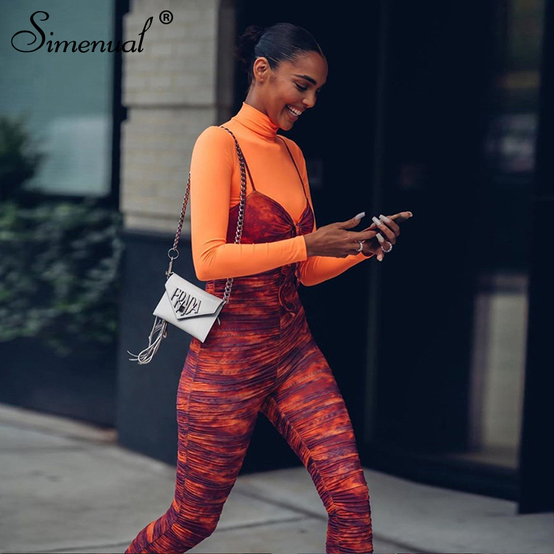 Simenual Tie Dye Fitness Women Jumpsuits Strap Sleeveless Ruched Fashion 2019 Overalls Sporty Workout Active Wear Slim Jumpsuit