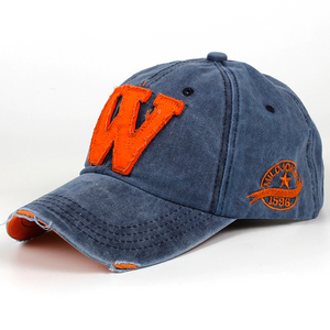 2019 new cotton letter W Baseball Cap retro outdoor sports caps women bone gorras curved fitted washed vintage dad hats for men(China)
