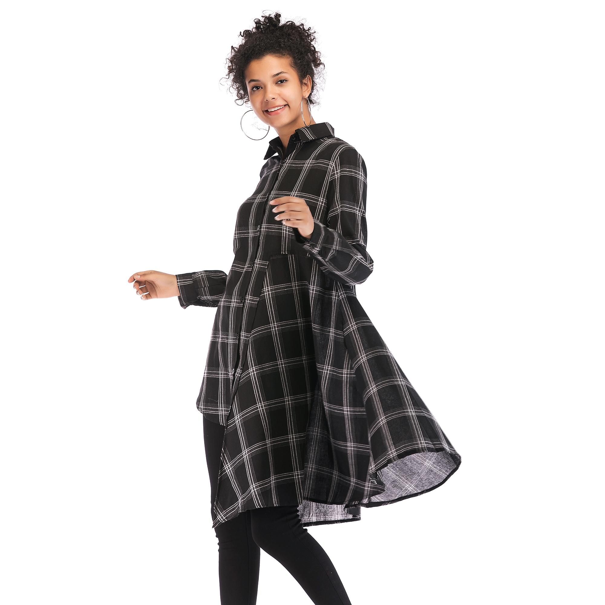 Mode femme coton Blusas 2019 automne Long Plaid femmes hauts et chemisiers grande taille Cardigan tunique femmes chemises