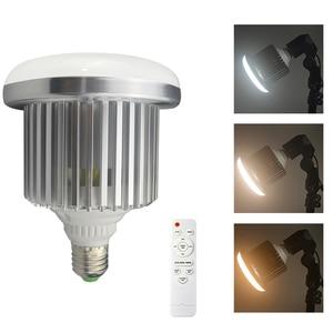 Image 1 - 95W 100 245V E27 ampul fotoğraf LED Video işığı sıcak lamba bi renk 3200K 5500K + uzaktan kumanda stüdyo Softbox Video
