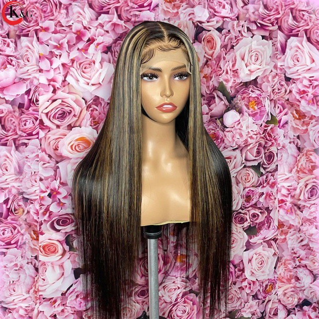 KUNGANG Highlight13*4 Lace Wigs Straight Human Hair Wigs Brazilian Front Wigs 150% Density With Baby Hair Non-Remy 3