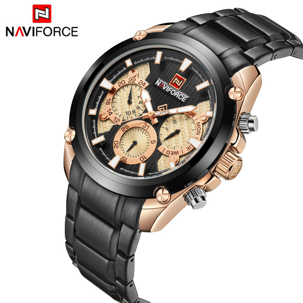 <font><b>NAVIFORCE</b></font> Military Quartz Watch Men Stainless Steel Strap 3 Sub-dial Calendar 2019 Men's Fashion Watches Top Brand Luxury Clock image