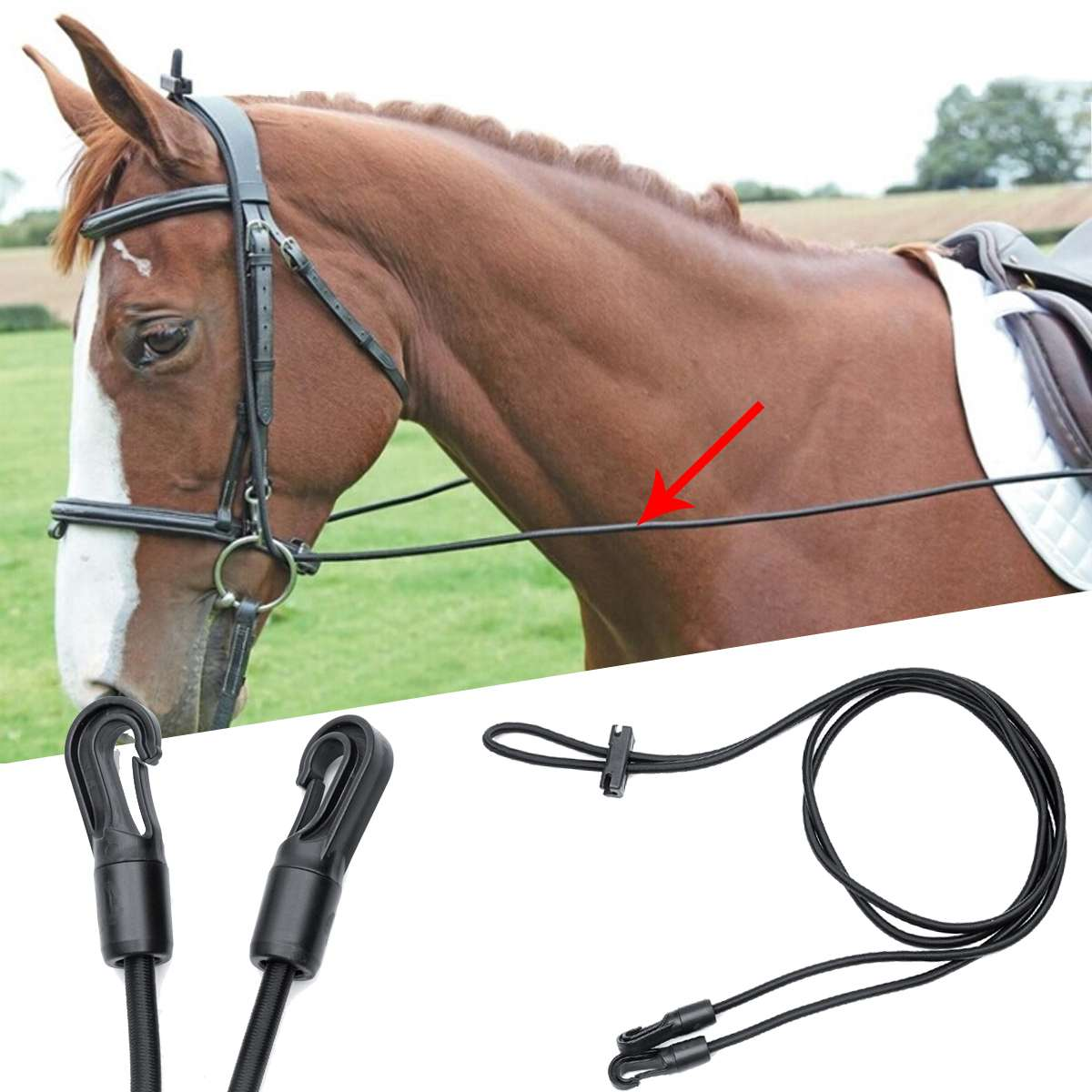 3 Meters Portable Black Horse Reins Bridle Head Collar Rope High Stretch Nylon Halter Horse Control Attachment Riding Equipment