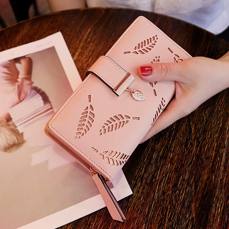 Women Wallet PU Leather Purse Female Long Wallet Hollow Leaves Pouch Handbag For Women Coin Purse Card Holders Clutch Carteira