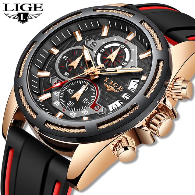2019 New LIGE Silicone Strap Mens Watches Fashion Top Brand Luxury Business Quartz Watch Men Casual Waterproof Date Clock Reloj