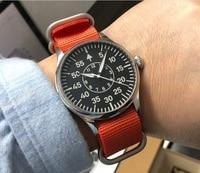 Borboleta fivela 43mm parnis mostrador preto automático auto vento relógios mecânicos de reserva de energia relógio masculino a89g|watches power reserve|watch power|watch men -