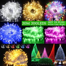 US Plug EU 20M 200LEDS  Outdoor Waterproof LED String Light Connectable With Tail Wedding Christmas Party Holiday D30