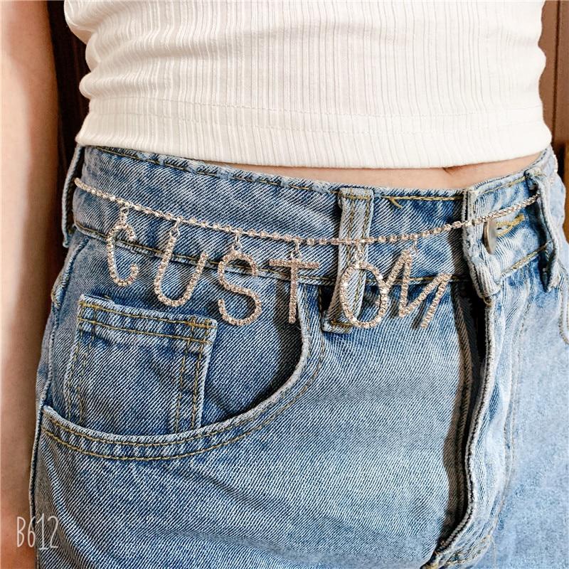 Dropship CUSTOM DIY Rhinestone Letter Waist Chain Belt For Women GIRLS Chain Custom Word Crystal Belly Chain Body Jewelry Party