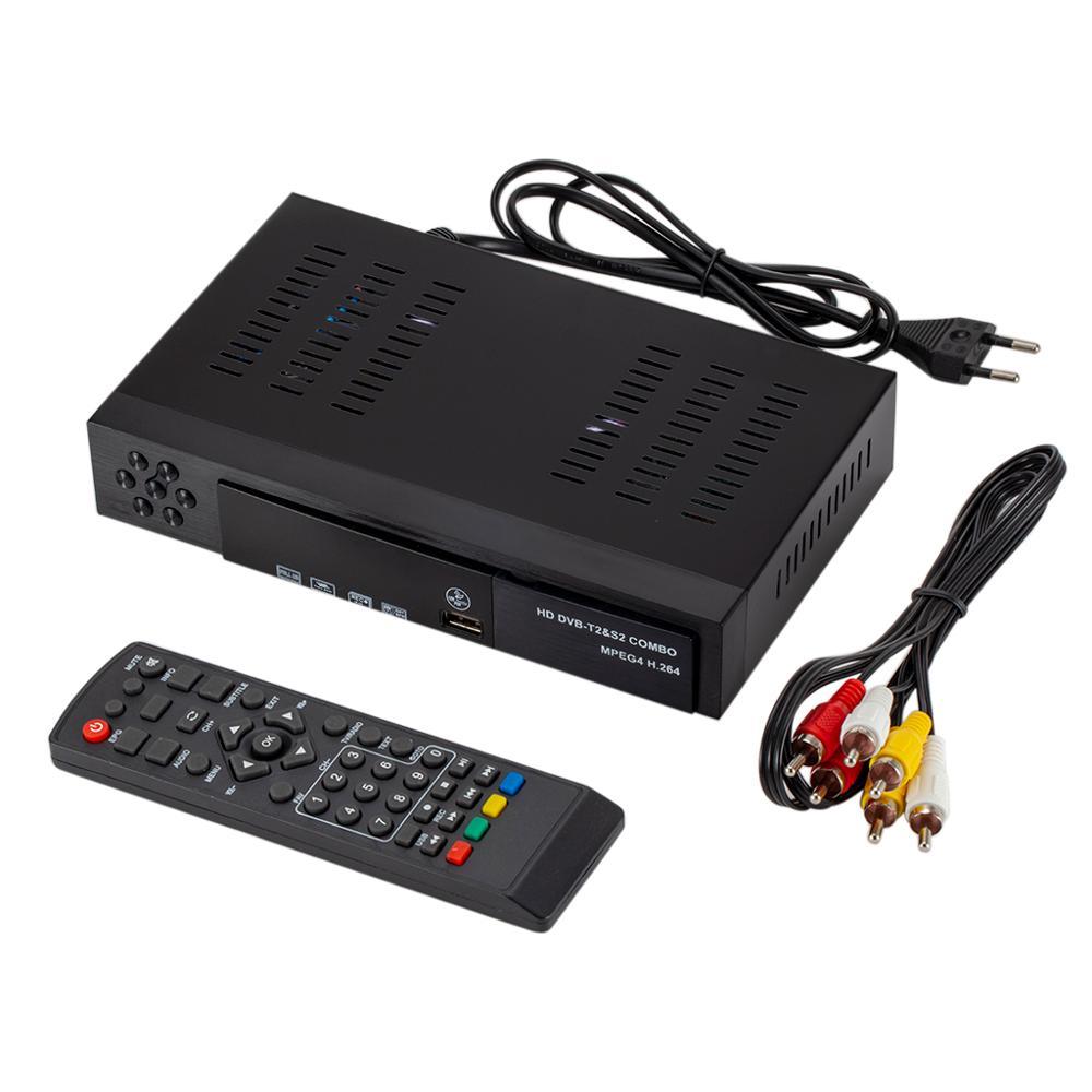 USB 2.0 DVB S2 T2 TV Tuner DVB-S2 DVB-T2 combiné récepteur décodeur Full HD numérique Smart TV Box MPEG4 Support antenne Wifi