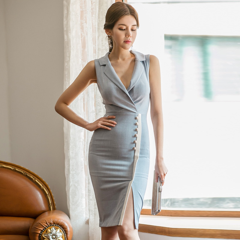 Women's 2019 Summer Wear New Style Korean-style Elegant Suit Collar Sleeveless Single-Breasted Mixed Colors Slim Fit Sheath Dres